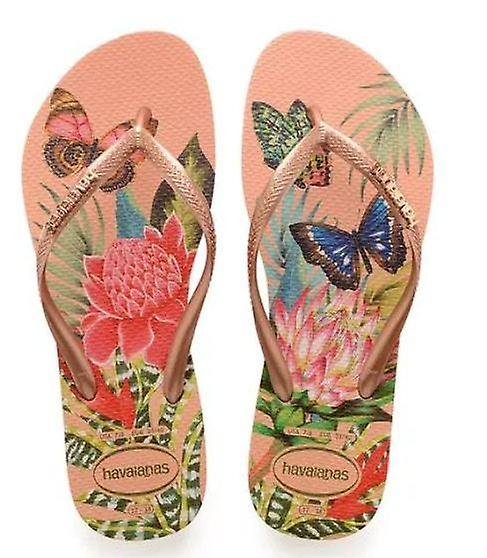 Tropical Havaianas, Rose Gold, Gold Straps Slim Style