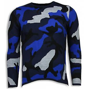 Dazzle Paint Sweater-Camouflage Long Fit Sweatshirt-Blue
