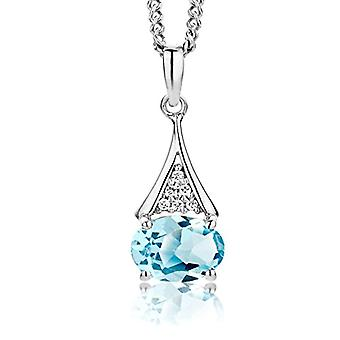 ParJoy Necklace Women's Pendant with Blue Sky Topazio Chain and Brilliant Silver Cut Zirconi Sterling 925 Chain 45 CM