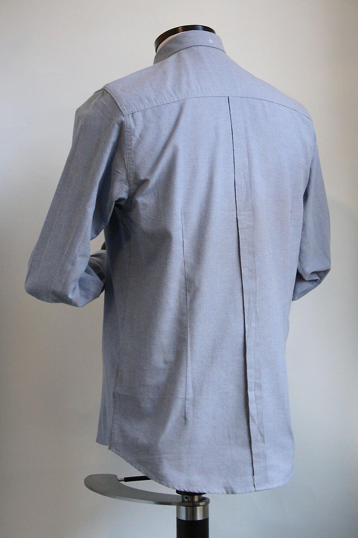 Merc London Oval Blue Cotton Blend Oxford Shirt