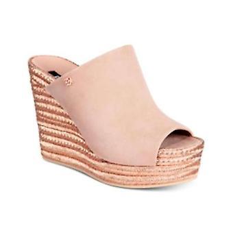 DKNY dame Eari læder åben tå casual platform sandaler
