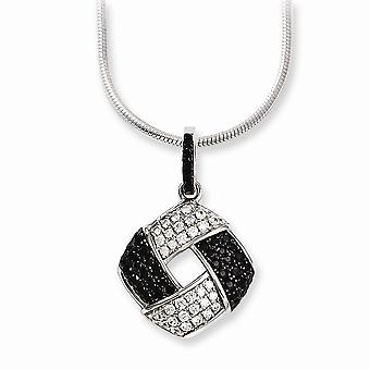 925 Sterling Silver Lobster Claw Closure and CZ Cubic Zirconia Simulated Diamond Brilliant Embers Necklace 18 Inch Jewel