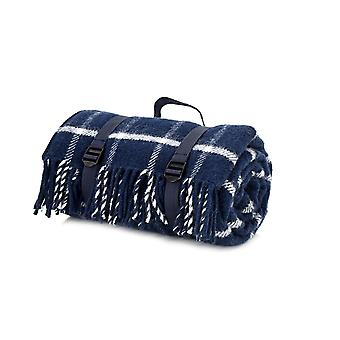 Tweedmill Polo Picnic Rug With Waterproof Backing - Chequered Check Navy