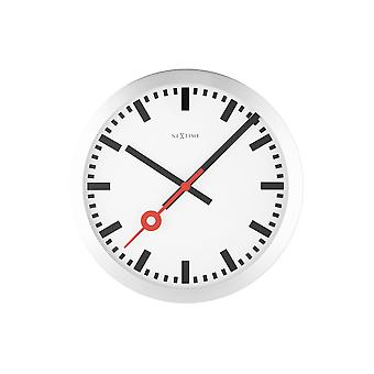 Nextime-Wandklok/tafel klok-Ø 19 cm-aluminium-geborsteld-' station streep '