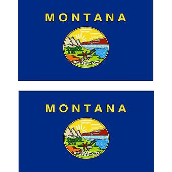 2 X Sticker Sticker Car Moto Vinyl Macbook Flag USA Americain Montana