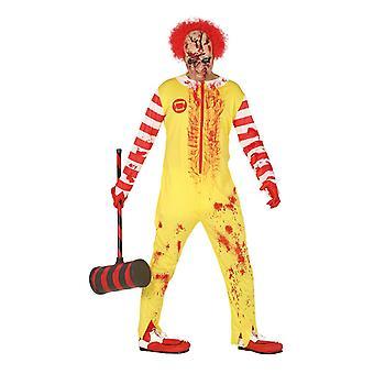 Mens Blood splatter Clown Halloween fancy kjole kostyme stor