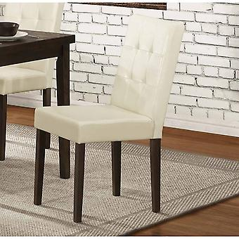 Wooden Side chair With Leatherette Upholstered Seat, Cream & Brown (Set of 2)