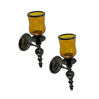 Amber Crackled Glass Hurricane Bronze Finish Votive Candle Wall Sconce Set of 2