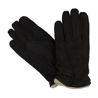 Gants bugatti gants pour hommes en daim avec poignets à tricoter noir 8362
