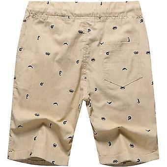 Men's Linen Casual Classic Fit Short (Khaki Crab, XS)