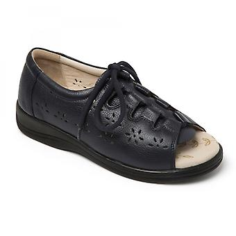 Padders Coastline Ladies Leather Extra Wide (2e) Sandals Navy