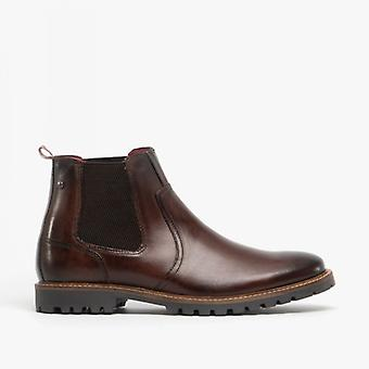 Base London Wilkes Mens Leather Chelsea Boots Washed Brown