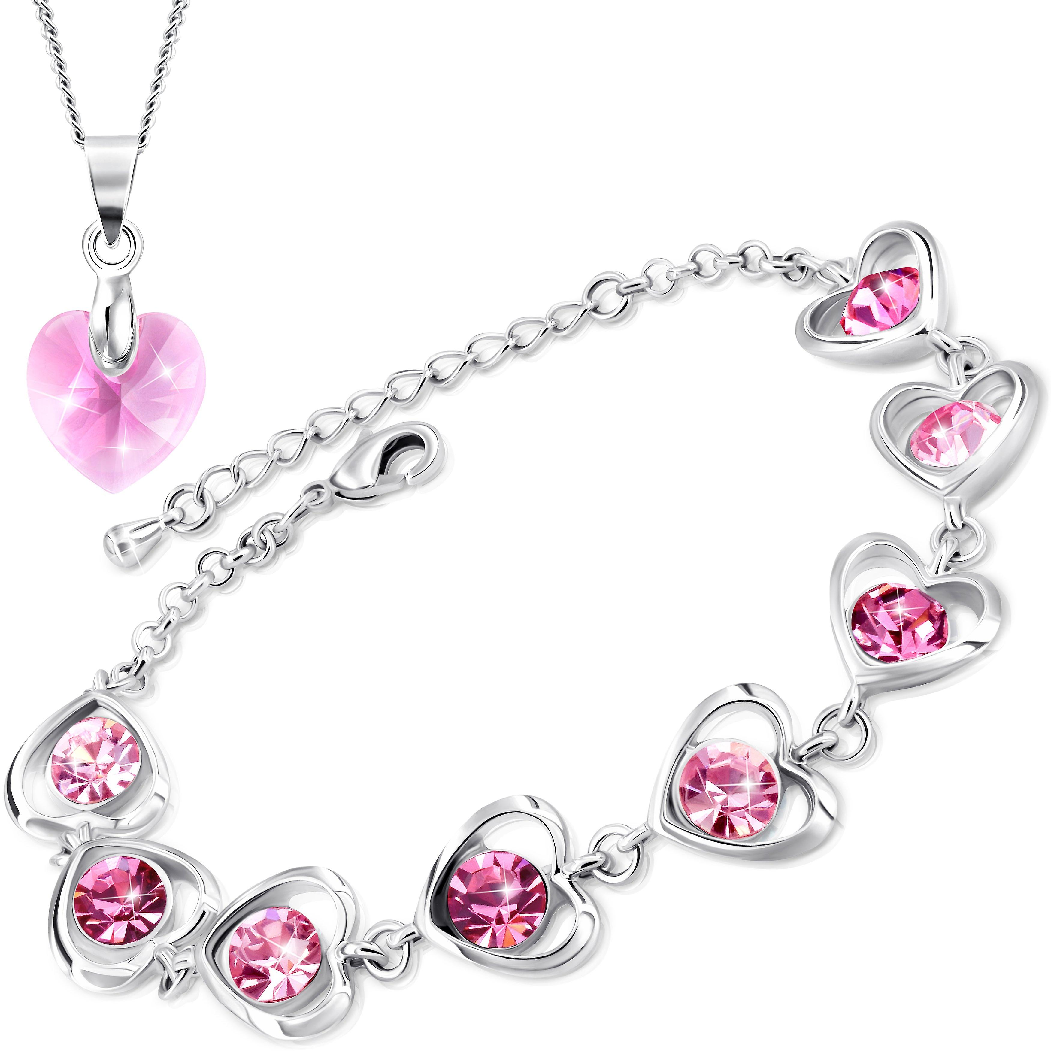 Necklace and bracelet with swarovski crystal. rhodium plated. by 2splendid. 2 for 1. gift box included. bnqz022-24