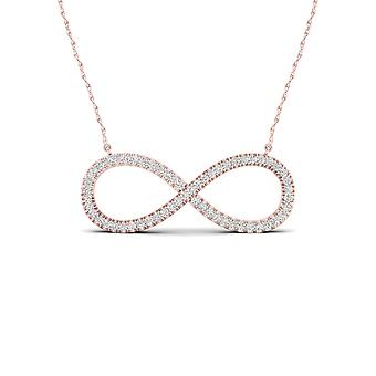 Igi certified solid 10k rose gold 0.15 ct diamond infinity pendant necklace