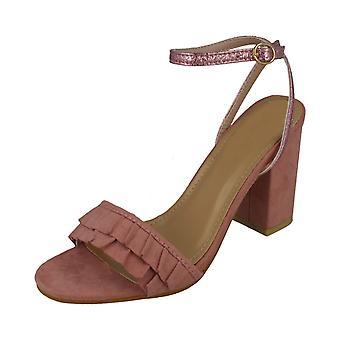 Ladies Spot On Open Toe Block Heel Sandals With Ruffle Front