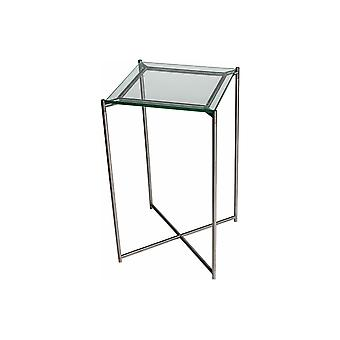 Gillmore Clear Glass Square Lamp Table With Gun Metal Cross Base