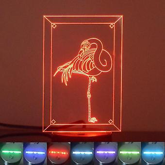 Seule couleur Flamingo acrylique LED lumière changeante