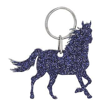 Purple Horse Style 7 Glitter Acrylic Keyring
