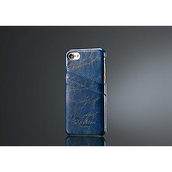 Für iPhone SE(2020), 8 & 7 Fall, elegante Deluxe hochwertige Schutzleder-Abdeckung, blau