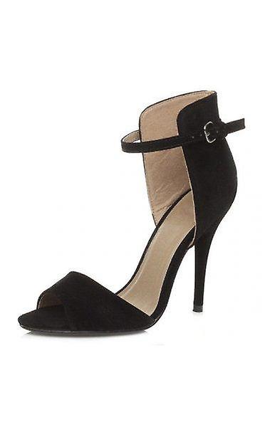 Chanelle Black Suede Heels