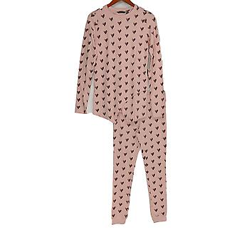 Iedereen Women's Pyjama Set Cozy Knit Waffle Blush Heart Pink A283669