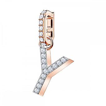 Swarovski Remix Rose Gold Tone Plated & White Crystal Letter Y Charm