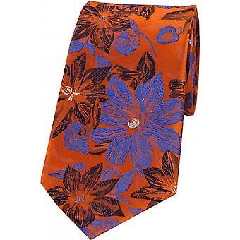 Posh and Dandy Large Flowers Silk Tie - Purple/Blue