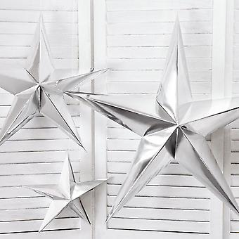 Hanging Silver Stars 30cm, 45cm and 70cm Christmas Decoration Set of 3