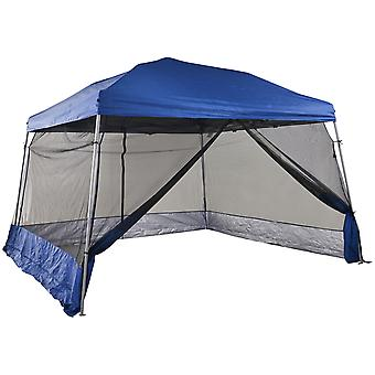 Outsunny 3.6 x 3.6m Outdoor Garden Pop-up Gazebo Canopy Tent Sun Shade Event Shelter Folding with Mesh Screen Side Walls  - Blue