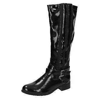 Damer Spot på knæ høje støvler / to spænde gjorden Design F50154