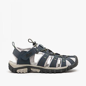 PDQ Ken Boys Nubuck Toggle & Velcro Trail Sandals Navy/lime