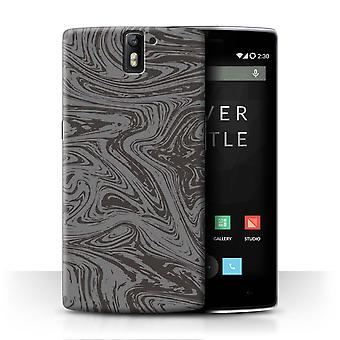 STUFF4 Case/Cover for OnePlus One/Silver/Melted Liquid Metal Effect