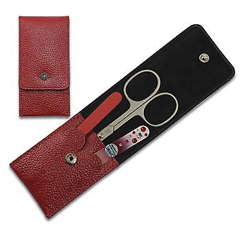 3-Piece Elegant Solingen Women Manicure Set in Red Leather Case, with crystals