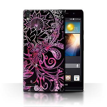 STUFF4 Case/Cover for Huawei Ascend P6/Black/Pink/Henna Paisley Flower