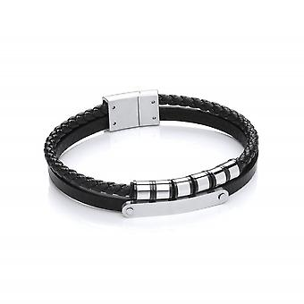 David Deyong Stainless Steel Vegan Leather Double Strand Bracelet