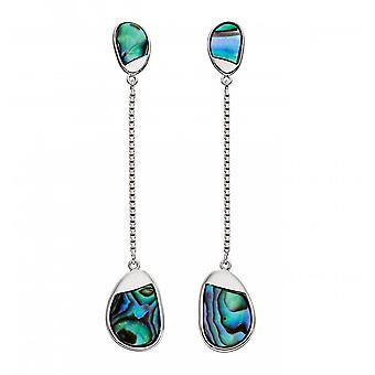 Fiorelli Silver Sterling Silver Pebble Long Silver Abalone Earring E5841S
