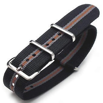 Strapcode n.a.t.o watch strap 20mm g10 nato james bond heavy nylon strap polished buckle - j19 black , grey , orange