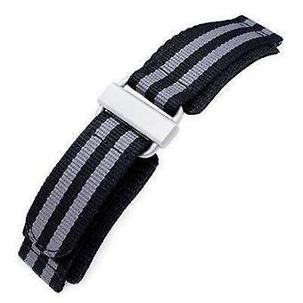Strapcode velcro watch strap 22mm miltat black & grey nyjbb nylon velcro fastener watch strap, sandblasted buckle