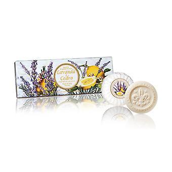 Saponificio Artigianale Fiorentino Handgemaakte lavendel citroenzeep liefdevol verpakt in hoge kwaliteit Gift Box 3x100g