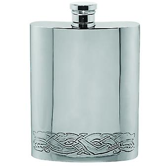 Celtic Dragon Style Decorative Pewter Hip Flask - 6oz