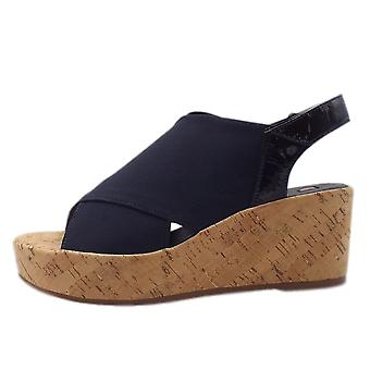 7-10 3237 Portofino Platform Wedge Sandales In Navy Stretch