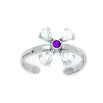 14k White Gold Red CZ Cubic Zirconia Simulated Diamond Adjustable Flower Body Jewelry Toe Ring Jewelry Gifts for Women