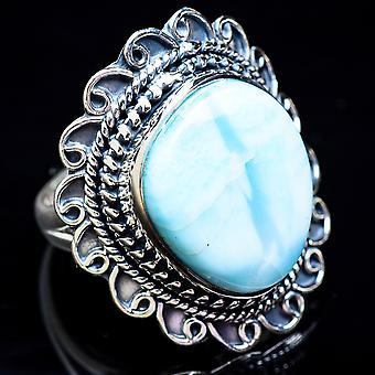 كبير لاريمار خاتم حجم 7.25 (925 الجنيه الاسترليني الفضة) - اليدوية بوهو خمر مجوهرات RING3476