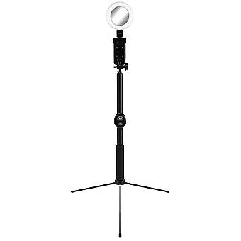 Selfie stick and Stand with LED ring - Black