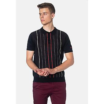 Merc STIRLING, Contrast Pinstripes Gebreide Heren's Polo Shirt