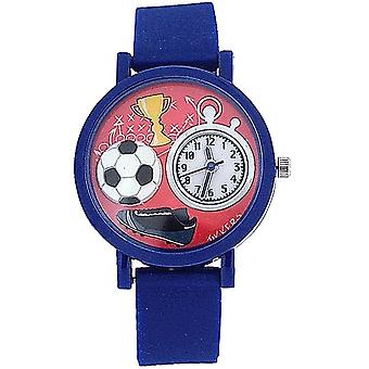 Tikkers Boys Analogue Football 3D Dial Blue Rubber Strap Sports Watch TK0068