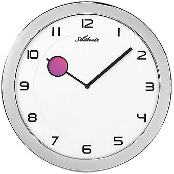 Atlanta 4432/19 wall clock quartz analog silver round flat with color changing
