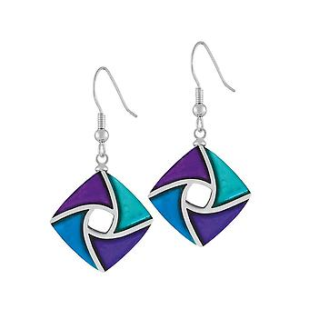 Eternal Collection Kite Purple Teal And Turquoise Silvered Resin Drop Pierced Earrings