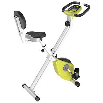 HOMCOM Manual Resistance Exercise Bike Foldable w/ LCD Monitor Adjustable Seat Heart Rate Monitors Food Straps Foot Pads Home Office Fitness Training Workout - Yellow