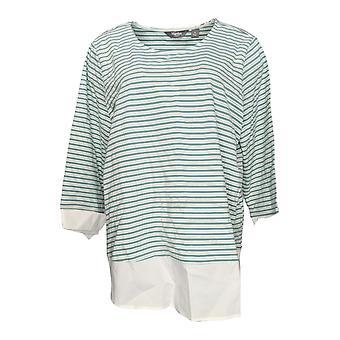 Martha Stewart Women-apos;s Top Striped Knit w/ Poplin Cuffs Green A309314